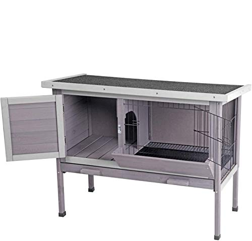 Rabbit Hutch, Wooden Bunny Cages Indoor with Deeper Leakproof Tray - Upgrade with Metal Wire Pan (Grey, Rabbit Hutch #001-B)