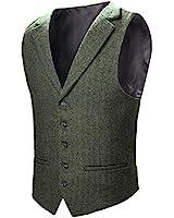 VOBOOM Mens Herringbone Tailored Collar Waistcoat Fullback Wool Tweed Suit Vest (Army Green, XL)