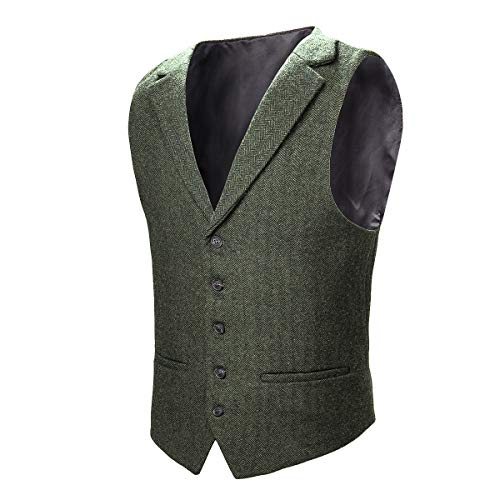 VOBOOM Mens Herringbone Tailored Collar Waistcoat Fullback Wool Tweed Suit Vest (Army Green, Small)