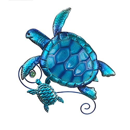 JOYBee Metal Sea Turtel Wall art Decor Outdoor Indoor Nautical Hanging Art Blue Green Stained Glass Decorative Sculpture for Garden Pool Patio Balcony Kitchen or Bathroom(12.5*11inch)