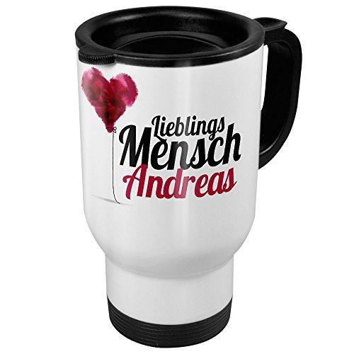 printplanet Thermobecher weiß mit Namen Andreas - Motiv Lieblingsmensch - Coffee to Go Becher, Thermo-Tasse