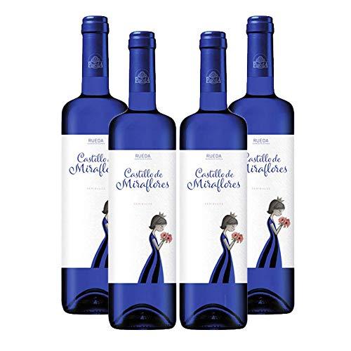 Vino verdejo Castillo de Miraflores de 75 cl - D.O. Rueda - Bodegas Grupo Estevez (Pack de 4 botellas)
