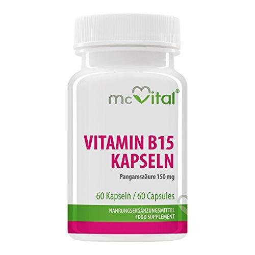 McVital Vitamina B15 Cápsulas 130 mg - 60 Cápsulas - Ácido pangámico - Alta dosis - Madein Germany