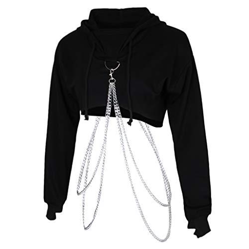 freneci Damen Hoodie Crop Top Langarmshirt Pullover Sweatshirt mit Kette bauchfreies Oberteil - Schwarz, M
