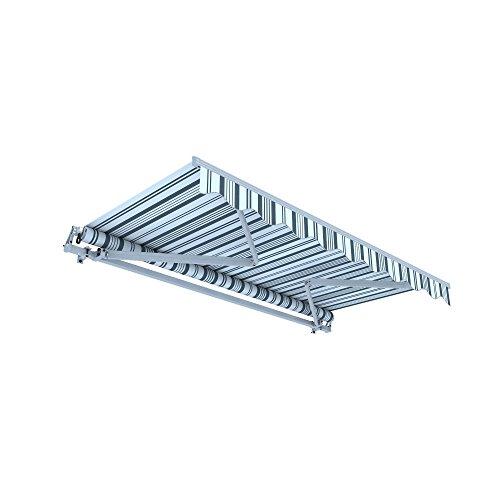 jarolift Gelenkarmmarkise Basic Plus Balkonmarkise Sonnenschutz für Terrasse, 450 x 350 cm, Grau-Weiss Multistreifen