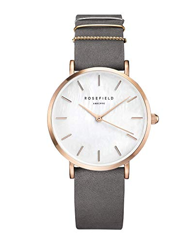 Rosefield The West Village Damenuhr Quarz in Roségold mit grauem Leder-Armband - WEGR-W75