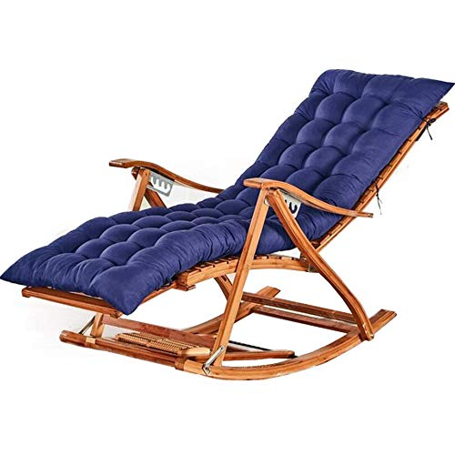 JJSFT Sun Bamboo Rocking Chair Outdoor Folding Recliner Garden Nap Lounge Elderly Chair Relax Chair with Stretchable Footrest and Foot Massage Leisure Siesta Chair with Mat