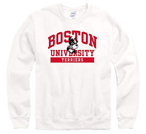 Shop College Wear Boston University Terriers Men's Crew-Neck Sweatshirt-White
