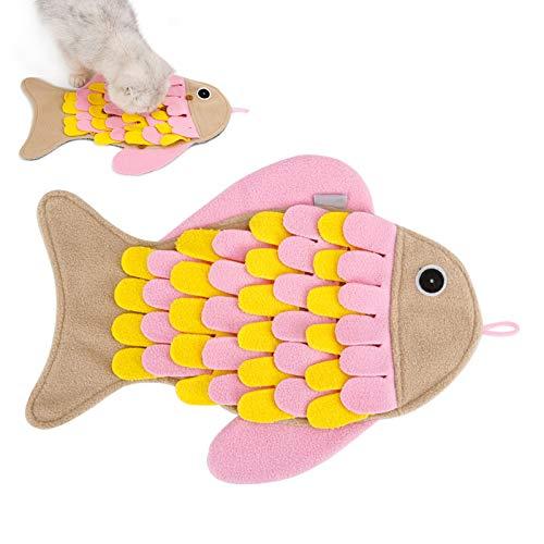 AEITPET Katzenspielzeug Schnüffelteppich Schnüffeldecke, Langsame Zuführung Leckerli, Interaktives Spielzeug für Katze, Schnupperteppich Schnüffelmatte für Katzen