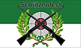FRIP - Schützenfest mit Zielscheibe, 2 Gewehren und Lorbeerkranz Fahne Flagge 1,50x0,90m mit Ösen