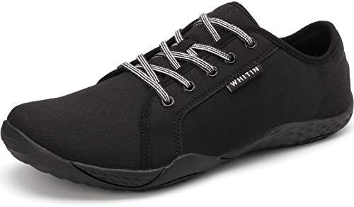 WHITIN Herren Canvas Sneaker Barfussschuhe Traillaufschuh Barfuss Schuhe Barfußschuhe Barfuß Barfußschuh Minimalistische Laufschuhe für Männer Hallenschuhe rutschfeste Schwarz gr 42 EU