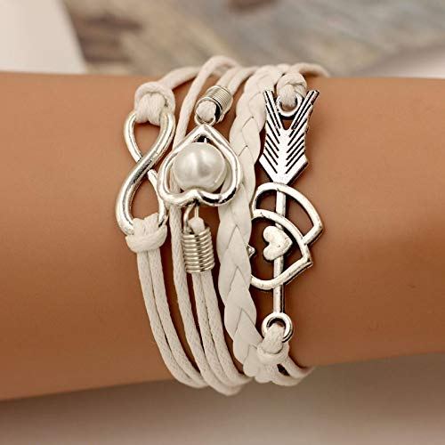 Shangwang Wrap Infinite Love Pearl - Pulsera de piel para mujer, color blanco
