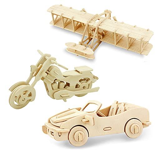 Georgie Porgy Hölzerne 3D Puzzle Sammlung Puzzle Modell Kit Baukasten Holzhandwerk Kinder Puzzle Spielzeug Alter 5+ Packung 3 (Rennwagen Motorrad Wright Flyer)