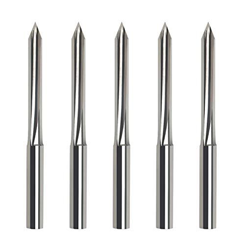 Metal Engraving Bits,EnPoint 60 Degree V Bits CNC Engraving Tools with 2-Flute Straight Groove 1/8 In Shank 0.1mm Tip Carbide Tipped Router Bits Marking Conical Carving Liner for Steel Aluminum Brass