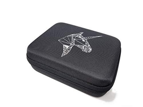 Einhorn Etui zur Aufbewahrung mit Netz & 2 Mikrofasertüchern   Hartschalenbox, Transporttasche, Reisetasche, Kosmetiktasche, 19cm x 15cm x 6,5cm - grau - mit Reißverschluss