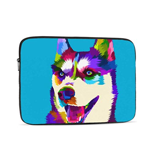 Siberian Husky Dog Pop Art Style Pattern 10' Inch Laptop Sleeve Case Bag Compatible with Apple MacBook Air Pro Dell Lenovo Samsung Asus Computer Tablet Or Ipad