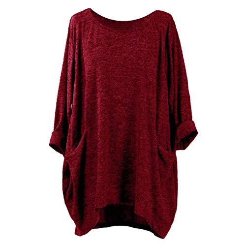 NOBRAND - Camiseta larga de manga corta con cuello redondo y bolsillo para mujer