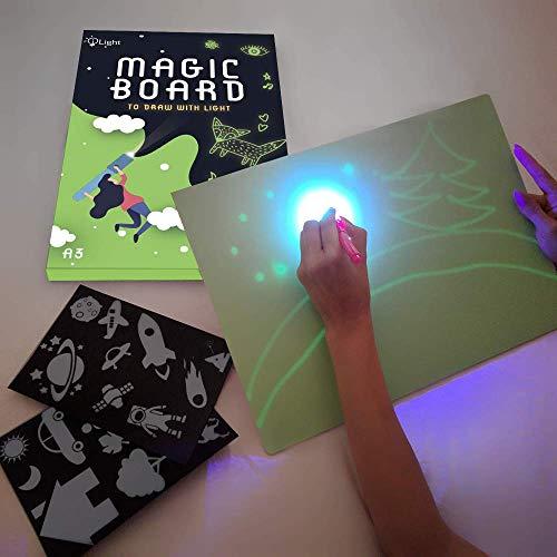 iLight - Nueva Pizarra Infantil Mágica de Dibujo con Luz - Juego de Pintar para Niños Niñas de 3 a 9 años Fomenta la Creatividad - Incluye Tablero + 1 Bolígrafo de Luz + 2 Plantillas [Tamaño A3]