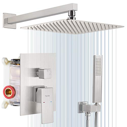 Tenfe Shower Faucet, Shower System Wall Mounted Shower Combo Set with 12 Inches high Pressure Rainfall Shower Head,Shower Fixtures (Contain Shower Faucet Rough-In Valve Body and Trim),Brushed Nickel