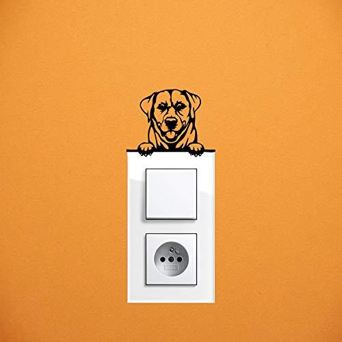 myrockshirt Adhesivo para interruptor de luz, diseño de perro labrador retriever, aprox. 10 cm, adhesivo para coche, pintura, cristal y pared, adhesivo de calidad profesional