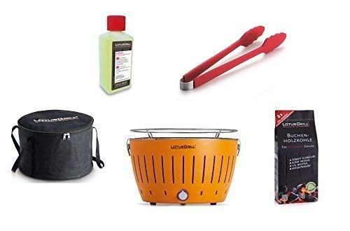 LotusGrill Starter-Set 1x Grill Mandarinenorange mit USB-Anschluß, 1x Buchenholzkohle 1kg, 1x Brennpaste 200ml, 1x Würstchenzange (Farbe nach Vorrat), 1x Transport-Tragetasche - der raucharme Holzkohlegrill