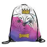 KIMIOE Mochilas Sparkling Gold Crown Bone Pug 100% Polyester Large Drawstring Bucket Bag Backpack String Backpack Buggy Bag