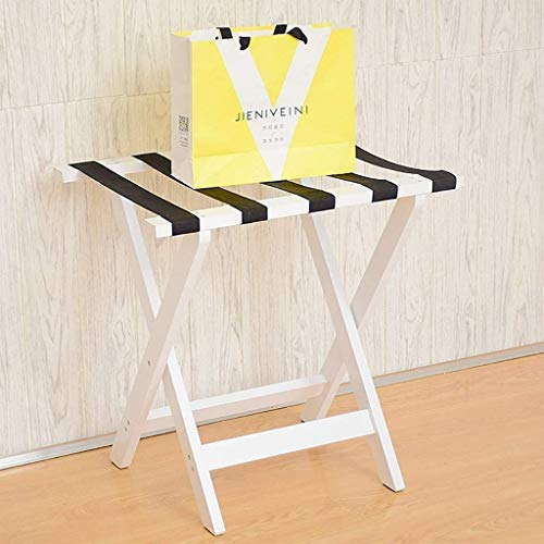 GDFEH Luggage Stand Folding Luggage Rack Solid Wood Folding Luggage Racks Bedroom Hotel Suitcase Support, Luggage Storage Rack (Color : White)