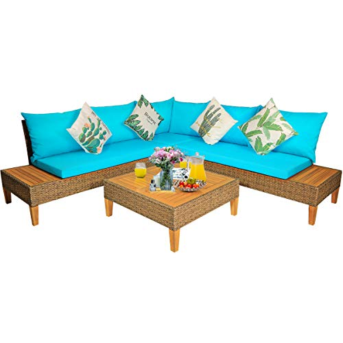 Tangkula 4PCS Acacia Wood Patio Furniture Set, Outdoor Wicker Sectional Sofa Set w/Washable Cushions & Coffee Table, Functional Conversation Set Ideal for Backyard Garden Poolside Balcony