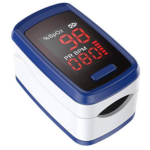 Pulsoximeter, AGPTEK Fingeroximeter zur Messung der Sauerstoffsättigung im Blut SpO2, Fingerpulsoximeter zur Pulsmessung mit LED-Anzeige und Zubehör, einfacher Ein-Knopf Bedienung