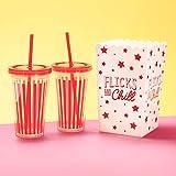Fizz Creations - Cubo de Palomitas y Pajita para Cine en casa, 500 ml, 12 cm x 21 cm x 13 cm