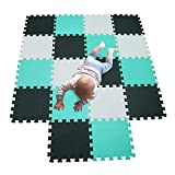 MQIAOHAM alfombra bebe carpet de espuma eva grande infantiles juguete manta parque play puzzle tapete Blanco-Negro-Verde 101104108
