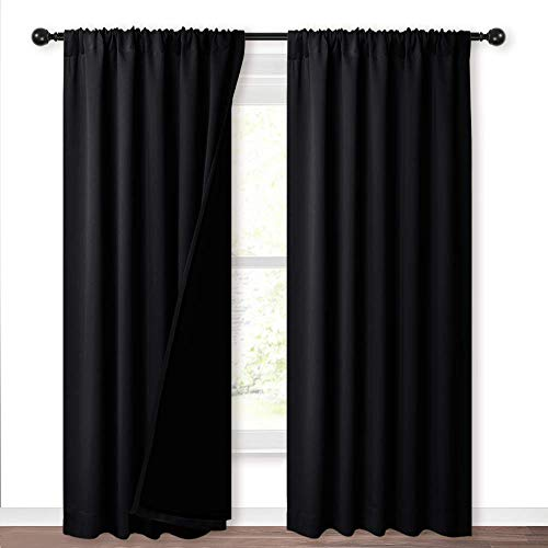 NICETOWN Heat Reducing Thermal Curtains, Full Blackout Curtains 84 Inches Long for Dining Room, Soundproof Window Treatment Drapes for Hall Room, Black, 52 inches Wide Per Panel, Set of 2 Panels