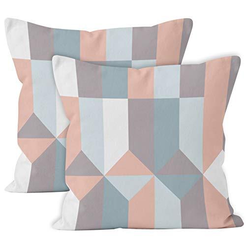 Encasa Homes Cushion Covers 2pc Set (40 x 40 cm) - Blocks, Tessuto in Twill di Cotone Stampato con Zip, Decorativo Grande Piazza Piazza Gettare federe per Soggiorno, Divano