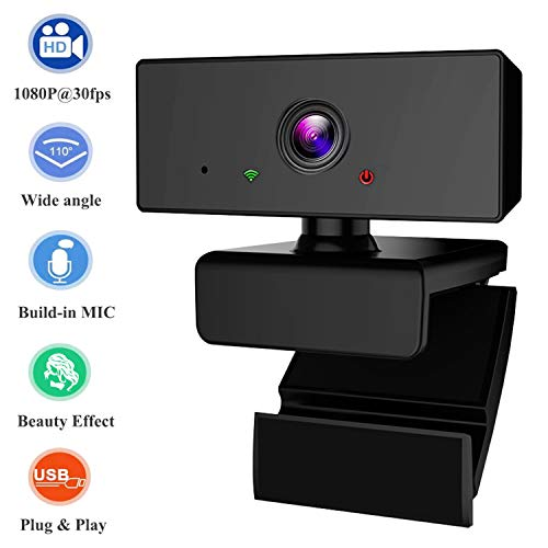 PHIPUDS Webcam with Microphone, HD 1080P Streaming Webcam for PC,MAC, Laptop,Plug and Play USB Camera for YouTube,Skype Video Calling, Studying, Conference, Gaming with Rotatable Clip