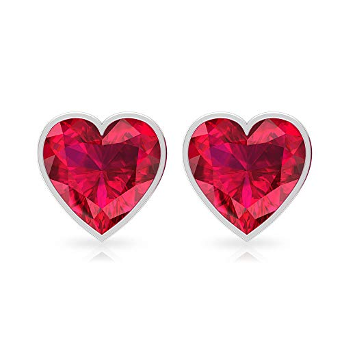 Rosec Jewels - 7 MM Lab Created Red Ruby Heart Shaped Stud, Gold Bezel Set Gemstone Earrings, 18K White Gold, Pair
