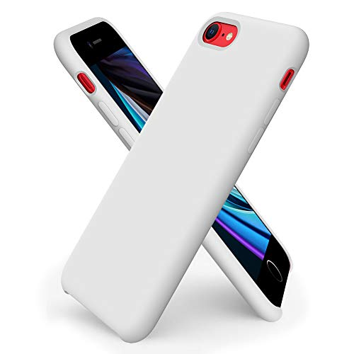 ORNARTO Custodia in Silicone Liquido per iPhone SE(2020), iPhone 7/8 Cover Sottile in Silicone Liquido in Gomma Gel Morbida per iPhone 7/8/ SE(2020) 4,7 Pollici-Bianca