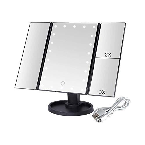 Espejo Maquillarse Espejos del Maquillaje Espejo De Baño Touch Screen 22 De Luz LED 1X / 2X / 3X 3 Plegables Herramientas del Maquillaje