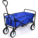 Carro Transporte Plegable Carro Playa Carro de Mano para Picnic Cámping Jardín con 4 Ruedas Azul 90x52x64cm