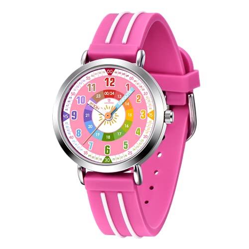 Uhr Kinder,Kinderuhr Mädchen Zeit Lernen Analog Quarz Armbanduhr mit Silikon Armband,Kids Lernuhr Rose