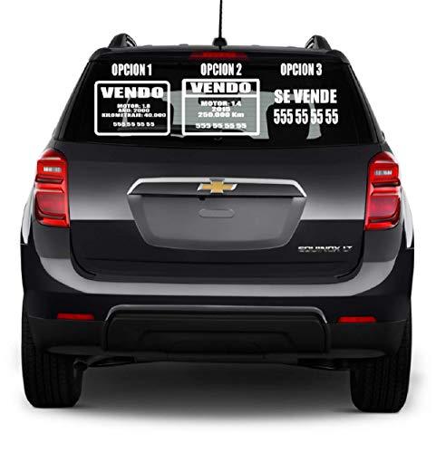 MACOES Cartel de Se vende pegatina personalizada en Vinilos Adhesivo, carteles publicitario para coches, caravanas o locales de 2 a 4 líneas de 30 cm - Letras Números Etiquetas Adhesivas
