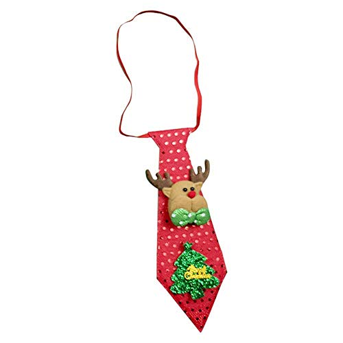 Watchwe Luces LED Corbata de Navidad Brillo Lentejuelas Papá Noel Oso Muñeco de nieve Elk Corbata Para Niños Corbata de dibujos animados Decoración Regalo de Año Nuevo