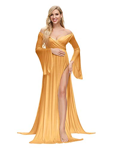 VSNOW Maternity Off Shoulder Long Flare Sleeve Maxi Photography Dress Side Split for Photo Shoot Prop Yellow