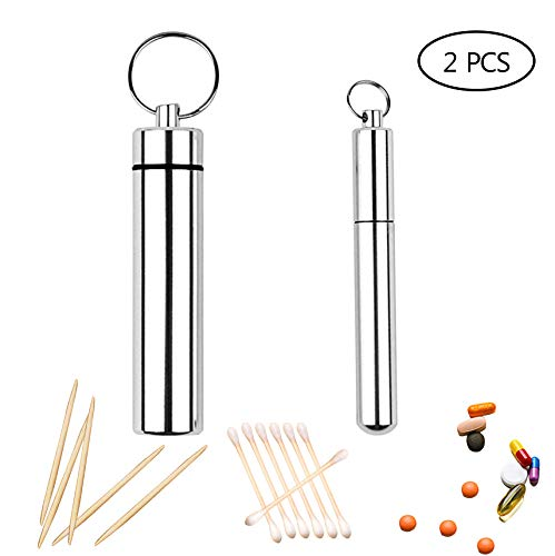 2 Pieces 2 Sizes Portable Toothpick Pocket Toothpick Holder Aluminium Alloy Toothpick Box and Aluminum Medicine Holder Container for Outdoor Picnic and Camping