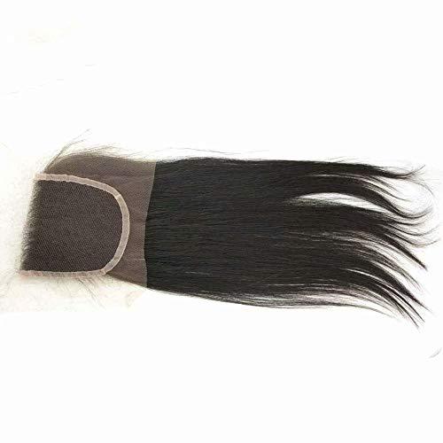 4x4 Tout droit brésilien Humain Cheveux Fermeture Suisse Dentelle Haut Fermetures Frontale Cheveux Attachement Naturel Noir 1 piece 20inch