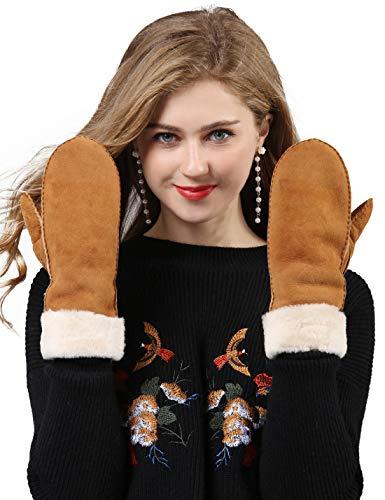 YISEVEN Damen Lammfell Leder Winterhandschuhe aus Shearling Dickes Fellgefüttert Warm Winter Autofahrer LederHandschuhe, Kamel M