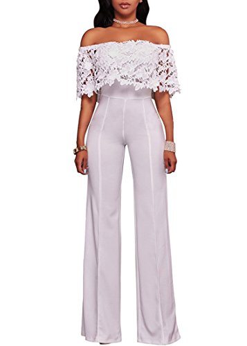 Halfword Womens Off Shoulder Elegant Long Pants Wide Leg Jumpsuits Rompers M White