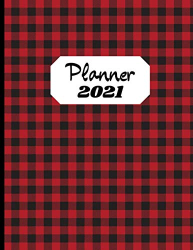 Planner 2021: Retro Style Red Plaid Tartan - Daily Weekly Monthly 1 Year Agenda Schedule Organizer - Christmas Gift for Women, Men, Friends, Family, Coworkers