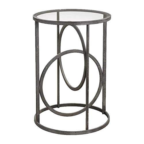 Home&Selected salontafel, industriële, stijl van gehard glas, ronde tafel, voor bank, zijkant van ijzer, kunst hoektafel, 45 x 60 cm