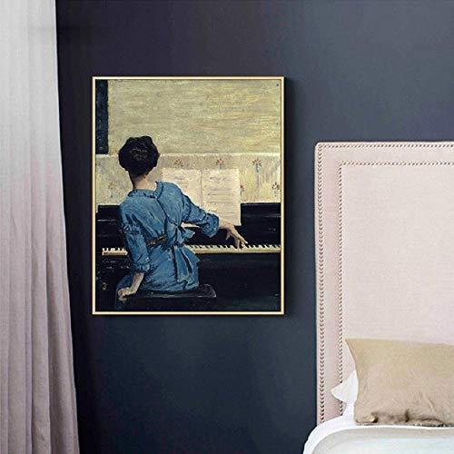 SHUTIAOQUN Vintage Play Piano Girls Poster Figuur Canvas Schilderij POP muurkunst Afbeeldingen op canvas voor de woonkamer Galerie Home Decor 40 * 50cm Frameloos