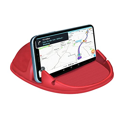 Loncaster Car Phone Holder, Car Phone Mount Silicone Car Pad Mat for Various Dashboards, Slip Free Desk Phone Stand Compatible with iPhone, Samsung, Android Smartphones, GPS Devices and More (Red)